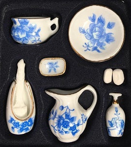 Blue Floral 9 pc Bathroom Set
