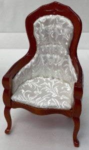 Chair With Arms White Fabric Brown Wood