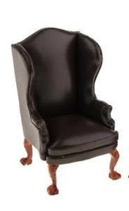 Winged Back Brown 'Leather' Chair