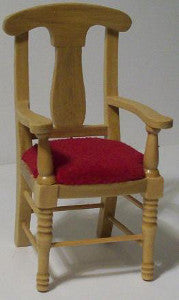 Oak Chair With A Red Seat