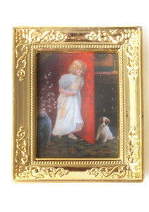 Girl And Her Puppy In A Gold Frame