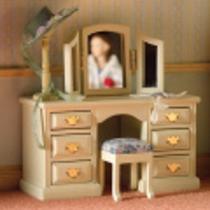 Sophisticated Cream Dressing Table Mirror And Stool