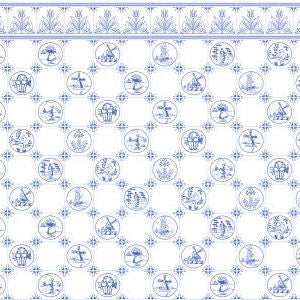 Dutch Tile Wallpaper Blue
