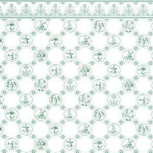 Dutch Tile Wallpaper Green