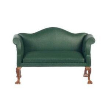 Green 'Leather' Winged Back Couch