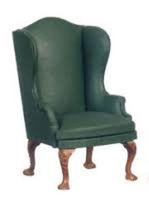 Green 'Leather' Winged Back Chair