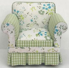 Green & Floral Armchair