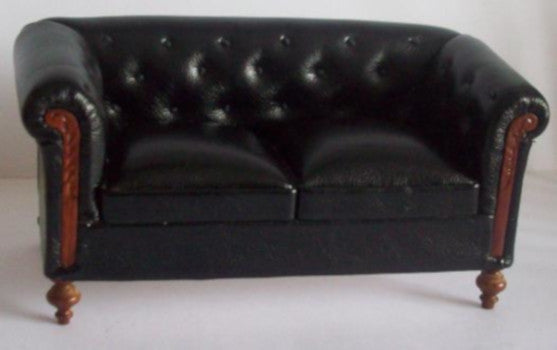 Black 'Leather' Chesterfield Suite