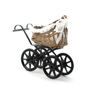 Brown Wicker Pram