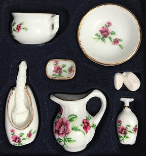 Flowered 9pc Ceramic Bathroom Set