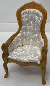 Chair With Arms White Fabric Oak Wood