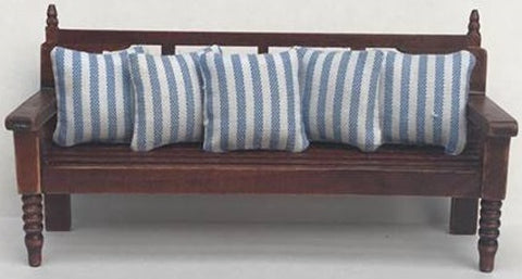 Slated Bench Seat With Blue & White Cushions