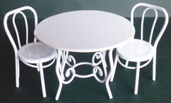 White Wire Table And 2 Chairs