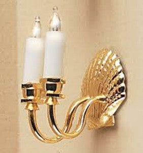 Double Candle Wall Light With Shell Detail