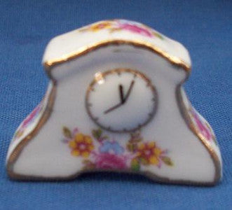 Mantle Clock White With Pink Flowers