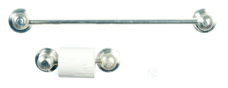 """Silver' Towel Rail And Roll Holder"