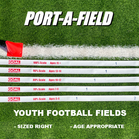 Port-a-field Age Appropriate Football Fields, Scalled for ages 5-adult