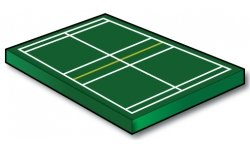 Badminton Singles Court with Service Lines - Port-a-field