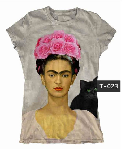 Frida Kahlo Black Cat Graphic Tee Shirt - Cielito Lindo Mexican Boutique