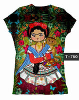 Frida Kahlo Artist Pallette Graphic Tee Shirt - Cielito Lindo Mexican Boutique