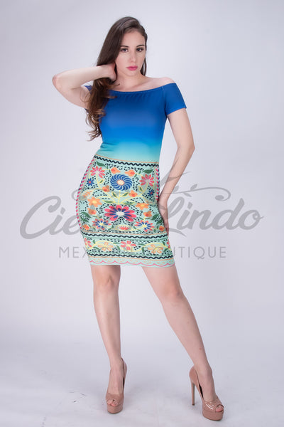 Fiesta Blue to Mint Ombre Printed Dress Stretchable