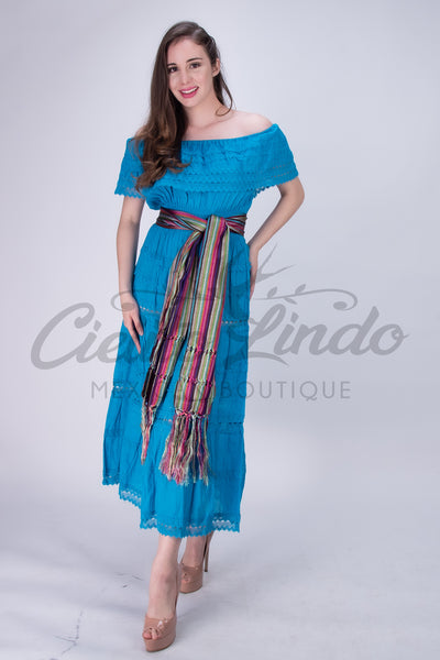 Adalia Mexican Blue Lace Maxi Dress