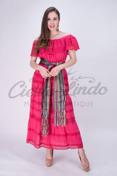 Adalia Mexican Hot Pink Lace Maxi Dress