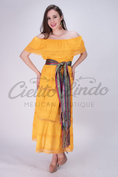 Adalia Mexican Yellow Lace Maxi Dress