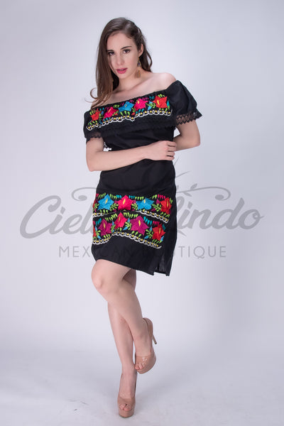 Azalea Mexican Off the Shoulders Dress Black - Cielito Lindo
