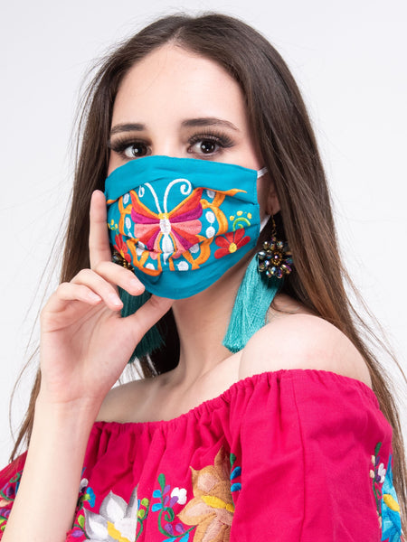 Mexican Embroidered Butterfly Face Mask
