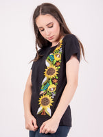Mexican Embroidered Black T-Shirt Sunflowers
