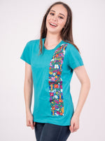 Mexican Embroidered T-Shirt Floral Teal
