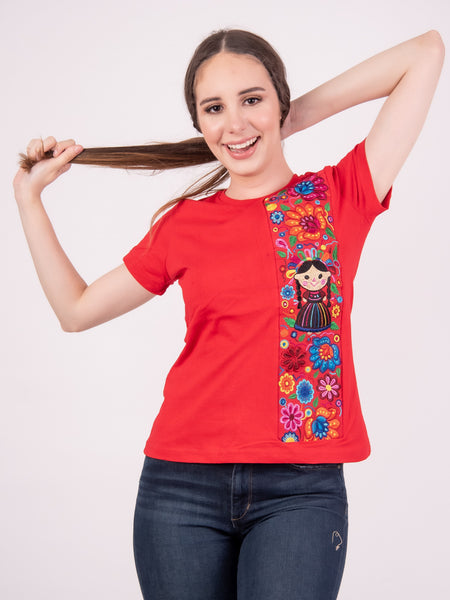 Mexican Embroidered T-Shirt Maria Doll Red