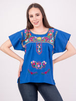 Mexican Tehuacan Full Embroidered Blouse Royal Blue