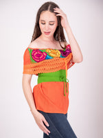 Mexican Off the Shoulder Zinacantan Blouse Orange