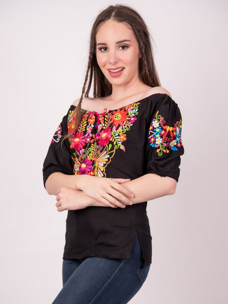 Tecali Black Embroidered Top