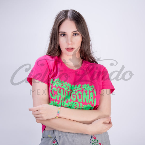 Mexican Embroidered Chingona T-Shirt Hot Pink