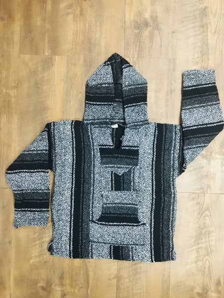 Black/Grey/White Mexican Kids Hoodie Poncho 10