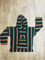 Black/Red/Yellow/Green Mexican Kids Hoodie Poncho 10
