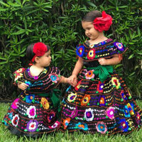 Mexican Chiapaneca Dress for Girls Black - Cielito Lindo