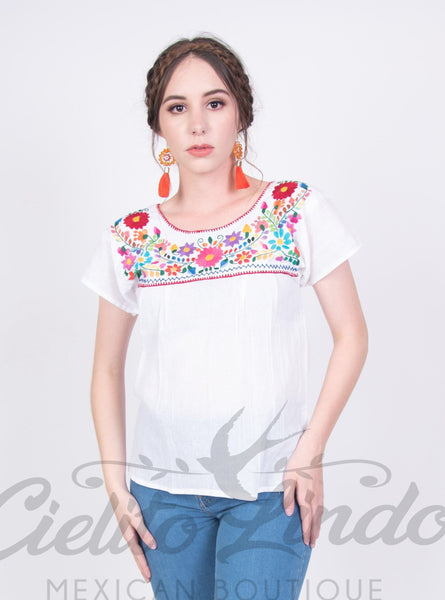 Mexican Tehuacan Embroidered Blouse White - Cielito Lindo