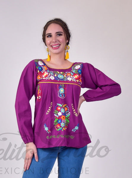Tehuacan Long Sleeved Blouse Magenta - Cielito Lindo Mexican Boutique