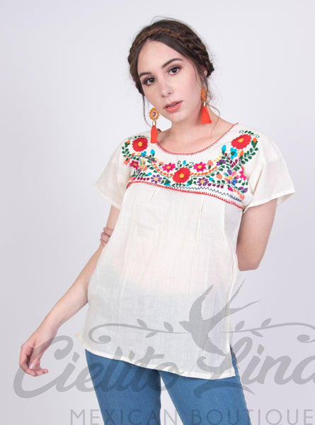 Mexican Tehuacan Embroidered Blouse Cream - Cielito Lindo