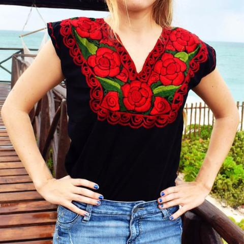 Mexican Floral Embroidered Top Blouse Colorful - Zina Black Red - Cielito Lindo Mexican Boutique