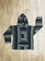 Brown/Black Mexican Kids Hoodie Poncho 10