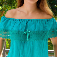 Mexican Campesina Off-Shoulder Teal Top - Cielito Lindo Mexican Boutique