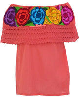 Mexican Embroidered Off the Shoulder Blouse Coral