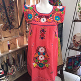 Dress Coral / Medium Mexican Sleeveless Dress Coral