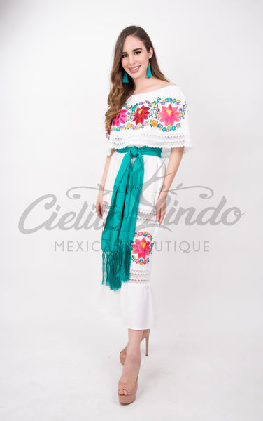 Mexican Luxury Fino Campesino Maxi Dress White - Cielito Lindo Mexican Boutique