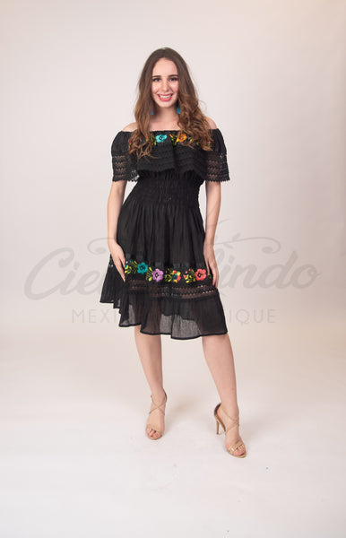 Dress One Size Mexican Campesina Dress Black